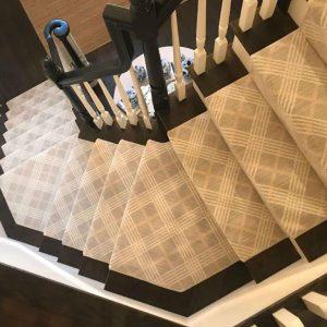 November 2019 Nourison coastal sands 3 stairways 2 halls cut and bind rug installations