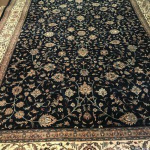 Handmade Oriental rug navy ivory used rug half price